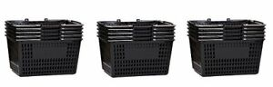 Shopping Basket Durable Black Plastic With Metal Handles Set Of 15