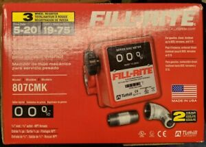 Fill rite 3 wheel Mechanical 3 4 In 3 4 Out Meter 5 20 Gpm 50 Psi 807cmk New