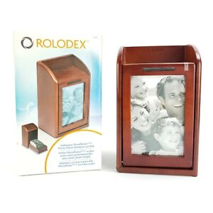 Rolodex Wood Photo Picture Frame Business Card File W Flaw 300 2 1 4 X 4 Card