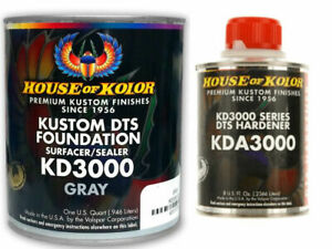 House Of Kolor Kd3000 Kustom Dts Gray Primer Surfacer sealer 1 Quart Kit