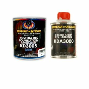 House Of Kolor Kd3005 Kustom Dts Blue Primer Surfacer sealer 1 Quart Kit
