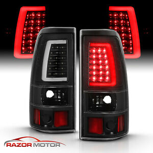 For 2003 06 Chevy Silverado 1500 2500 3500 Black Led Tube Tail Lights