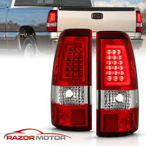 For 2003 06 Chevy Silverado 1500 2500 3500 Red Led Tube Tail Lights