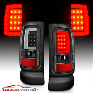 For 1994 2001 Dodge Ram 1500 2500 3500 Black C shape Led Tube Tail Lights Lh rh