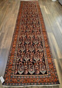 Vintage Hand Knotted Long Traditional Boteh Runner Rug Navy Rust 3 X 13