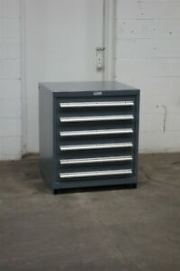 Used Nu era 6 Drawer Cabinet 35 Inches Tall Industrial Tool Storage 2197 Vidmar