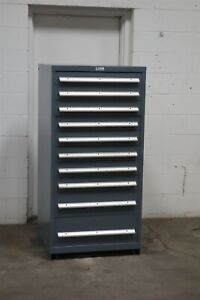 Used Nu era 10 Drawer Cabinet Industrial Tool Parts Storage 2194 Vidmar