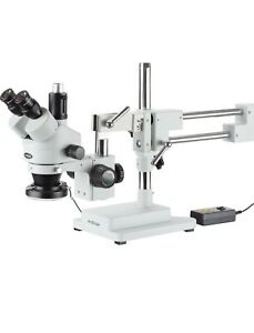 Amscope Sm4tz144a 3 5x 180x Trinocular Stereo Microscope With 4 zone 144 Led