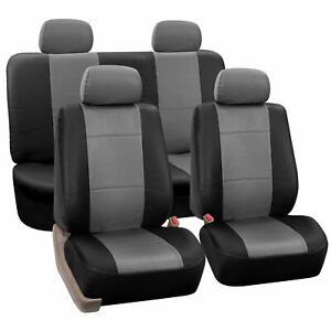Pu Leather Universal Seat Covers For Auto Car Suv Gray Black Full Set Covers