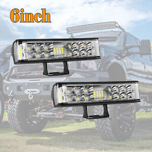 2x 6inch 600w Led Light Bar Flood Spot Offroad Work Lights 4wd Truck Atv Ute 12