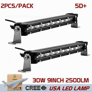 2x 9inch 30w Single Row Cree Led Light Bar 5d Optical Suv Off Road Truck Bumper