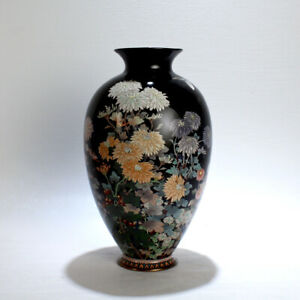 Antique Meiji Japanese Cloisonn Black Enamel Vase W Flowers Butterflies Vr