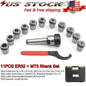 Precision Er32 Collet Set Mt3 Shank Chuck Spanner W box For Milling Machine Us