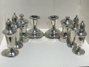 Vintage Sterling Silver 8pc Lot Serving Candle Sticks Shakers Not Scrap