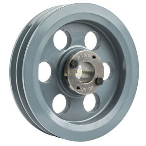 Cast Iron 7 75 2 Groove Dual Belt B Section 5l Pulley 1 3 16 Sheave Bushing