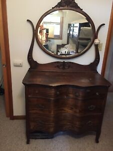 Antique Victorian Oak Dresser With Carved Mirror