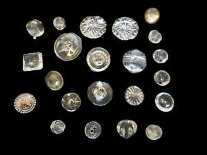 22pc Vintage Antique Clear Glass Buttons Collection 3 8in To 7 8