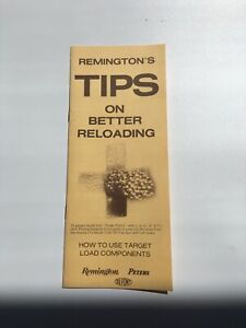 Vintage Booklet Remington#x27;s Tips on Better Reloading 1972 12 pages $5.99