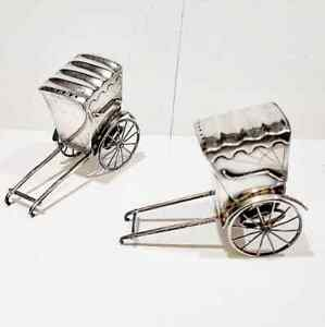 Vintage Japanese 950 Sterling Silver Rickshaw Carts Salt Pepper Shaker Set