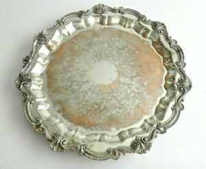 Vintage Sheridan Silver On Copper Footed Tray 19 Dia Ornate Trim Copper Showing