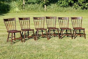 Vintage Farmhouse Table Dining Room Chairs Colonial Stencil Harvest Table 6 Set
