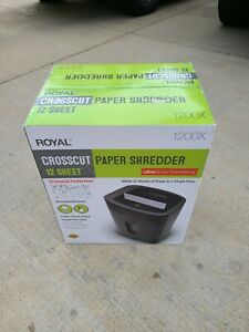 Royal 1200x Paper Shredder 12 Sheet Capacity Ultra Quiet New Freeshipping