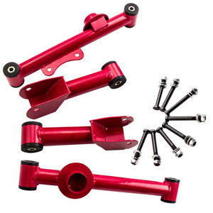 4 Pcs For Ford Mustang 1979 2004 Upper lower Rear Red Tubular Control Arms