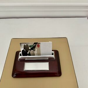 New Business Card Holder Mahogany Wood stainless Steel New In Box
