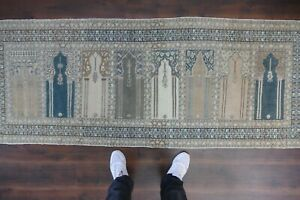 Vintage Turkish Oushak Runner Rug Handwoven Wool Antique Rug Runner 2 8x7 7 Ft