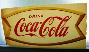 COCA COLA SIGN RARE VTG AUTHENTIC FISHTAIL WINDOW TRANSPARENCY EARLY 1960'S
