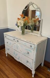 Antique Art Noveau Dresser With Mirror Very Shabby White And Refab Blue 48 L X 2