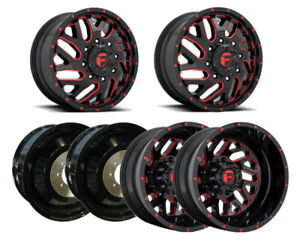 6x D656 G Blk Red F R I Dually Wheels 20 Blk Spiked Lugs For Ram 3500 12 19