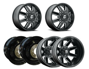 D538 M blk Mil F r i Dually Wheels 22 Blk Spiked Lug For Silverado 3500hd