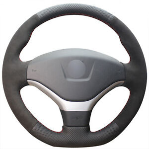 For Peugeot 308 Black Leather Black Suede Hand Stitch Car Steering Wheel Cover