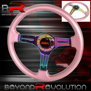 Jdm Sport Steering Wheel Pink Neo Chrome Center Streak 6 Bolt Hole 350mm Dish