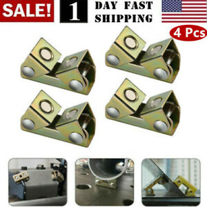 4x Adjustable Magnetic Welding Clamps V Type Pads Fixture Holder Strong Welder