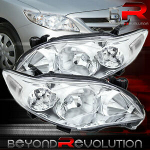 For 2011 2012 2013 Corolla Chrome Driving Headlights Clear Corner Lens Pair