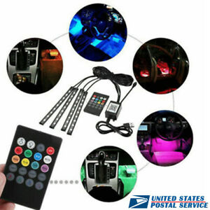 4x Car Rgb Usb Music Control Led Interior Happy Light Kit For Cadillac Dodge