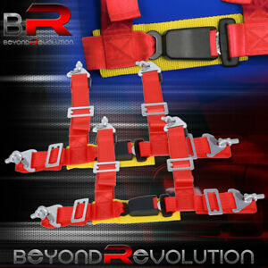 4 Point Red Safety Seatbelt Harness 2 Wide Gold Strap Pair Adjustable Set