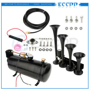 4 Trumpets Train Horn Kit For Truck Car Pickup Loud System Air Tank 150psi