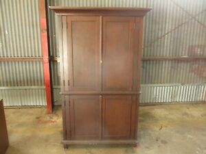 Antique Vintage 4 Door Solid Wood Armoire With 2 Shelves