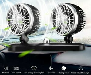 Car Truck Dual Head Cooling Oscillating Ventilation Dashboard Air Fan Usb Cooler