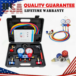 Hvac A c Refrigeration Kit R22 R134a R404a R410a Ac Manifold Gauge Set 5ft Hose