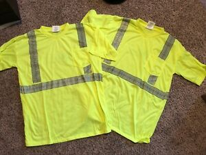 Lot Of 15 Wm High Visibility Yellow Reflective Safety Shirt Men s X large New