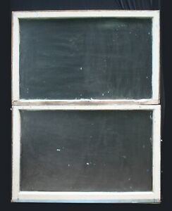 Pair 44 X29 Antique Vintage Double Hung Wood Wooden Sash Window Textured Glass