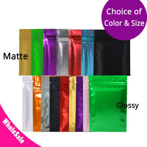 Multi size Glossy Matte Both Sided Colored Mylar Foil Zip Lock Bag Sm01