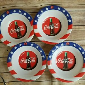 Coca-Cola Gibson Red  White and Blue Melamine Lot of 4  7.5