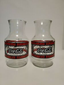 Anchor Hocking Coca Cola Glass Pitcher. Godfathers Pizza. Pair