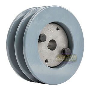 Cast Iron 4 5 2 Groove Dual Belt B Section 5l Pulley W 5 8 Sheave Bushing