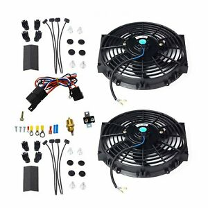 2pcs 10 Electric Radiator Cooling Fan W thermostat Relay Mounting Kits Black